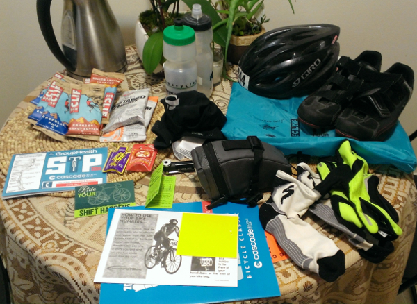 All my biking gear layed out on my kitchen table
